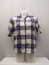 Buy SIZE 20 Womens Shirt DETAIL WORKS Blue Plaid Short Sleeves Collar Neck Casual
