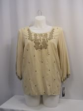 Buy PLUS SIZE 0X Womens Top STYLE&CO Taupe Embroidery Jeweled Scoop Neck 3/4 Sleeves