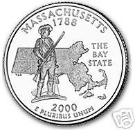 Buy 2000-P MASSACHUSETTS BRILLIANT UNC STATE QUARTER