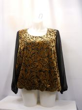 Buy PLUS SIZE 2X Womens Top STYLE&CO Paisley Black Copper Long Sleeves Scoop Neck