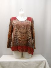 Buy Live and Let Live Women's Knit Top Plus Size 1X Paisley V-Neck Crocheted Lace