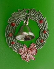 Buy CHRISTMAS CHARM: sterling 925 silver : 2D WREATH w/ 3D BELL SIGNED