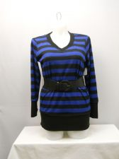 Buy Women's Sweater Plus Size 2X EYE CANDY Blue Striped Belted V-Neck Tight Fitting