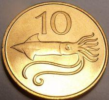 Buy Gem Unc Iceland 1981 10 Aurar~Bulls Head~Flying Squid~Only Year~Free Shipping