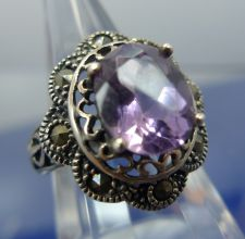 Buy sz 7 Ring Marcasite & Amethyst Set in Sterling 925 Silver signed T (in diamond)