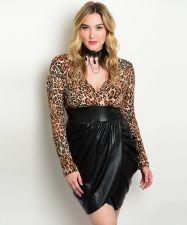 Buy Eien Women's Dress Size 1XL-3XL Animal & Faux Leather Tulip Skirt Clubwear Sexy