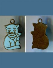 Buy vintage ENAMEL ON SILVER CHARM : BLUE CAT KITTY / NO MARKS