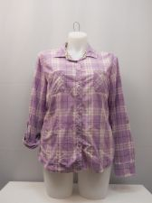 Buy SIZE 20 Button Down Shirt FADED GLORY Plaid Long Tab Sleeves Collar Neck Casual