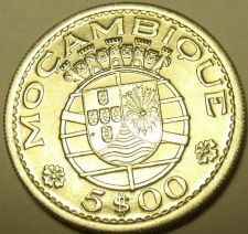 Buy Gem Unc Silver Mozambique 1960 5 Escudos~Only Year~Shield And Malteese Cross~F/S