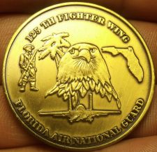 Buy 125th Fighter Wing Florida Air National Guard Brass Medallion~Super~Free Ship