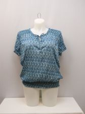 Buy SIZE 20 XXL Womens Peasant Top FADED GLORY Geometric Scoop Neck Short Sleeves