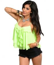 Buy True Light Tiered CamisoleTop Misses Size S-M Solid Neon Lime Spaghetti Straps