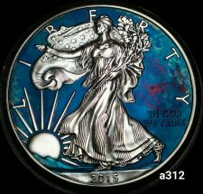 Buy 2015 Rainbow Monster Toned Silver American Eagle 1oz fine with velvet case #a312
