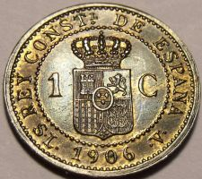 Buy Unc Spain 1906 Centimo~Over 100 Years Old~Alfonso XIII~6 Pointed Star~Free Ship