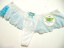 Buy A0294 HONEYDEW Front Sheer Mesh & Rear Lace Ruffles Thong 008-3 White/Aqua New