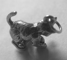 Buy Vintage Sterling Signed Charm : Cat or Kitten w/ a Ball