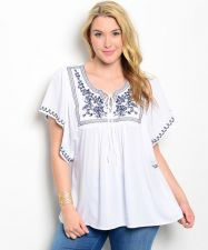 Buy Bellezza White Embroidery Batwing Sleeves V-Neck Babydoll Top Jr Plus Size XL-3X