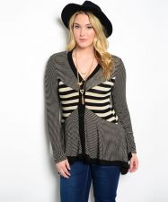 Buy Finesse Striped Long Sleeves Y-Neck 3 Button Asymmetrical Sweater Size 1XL-3XL