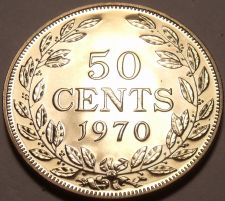 Buy Large Rare Proof Liberia 1970 50 Cents~Only 3,464 Minted~Free Shipping