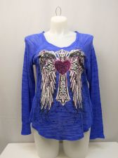 Buy PLUS SIZE 1X Womens Knit Top SELF ESTEEM Blue Foil Decal Long Sleeves V-Neck