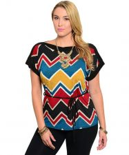 Buy Libian Chevron Multi Color Short Sleeves Boat Neck Belted Top Plus Size 1x-3X