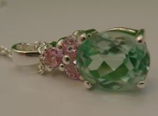 """Buy NWOT PENDANT sterling 925 silver TEAL TOPAZ TOPPED BY 3 PINK STONES w/ 18"""" CHAIN"""