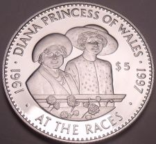 Buy Huge Silver Proof Solomon Islands 1998 $5.00~The Queen And Diana At The Races~FS