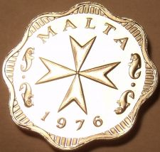 Buy Rare Cameo Proof Malta 1976 2 Mils~Maltese Cross~Only 26,000 Minted~Free Ship