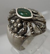 Buy sz 8 Ring : Vintage Sterling Silver Marcasite & Marquis Jelly Green signed ND