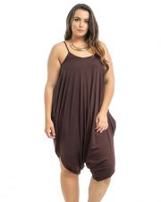 Buy Takuni Brown Draped Relaxed Fit Spaghetti Straps Harem Pants Jumpsuit One Size