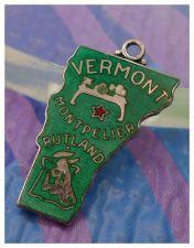 Buy vintage GREEN ENAMEL TRAVEL SOUVENIR MAP CHARM : VERMONT : JMF STERLING