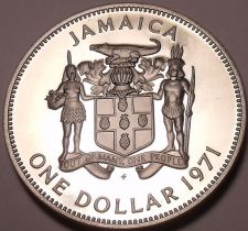 Buy Rare Cameo Proof Jamaica 1971 Dollar~Only 15,000 Minted~Excellent~Free Shipping