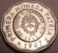 Buy Large Unc Argentina 1967 25 Pesos~Dodecagon~1813 1st Year Of Coinage~Free Ship
