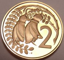 Buy Proof New Zealand 1968 2 Cents~Kowhai Leaves~Only 40,000 Minted~Free Shipping