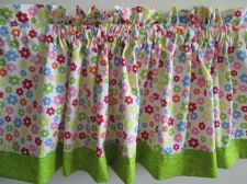 Buy Rainbow Daisy Fabric Curtain Door Valance Window Topper 12x44 in with Cord 32 in