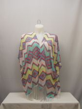 Buy Op Women's Swimsuit Cover Up Wrap Size L Sheer Zigzag Kimono Sleeves Fringed