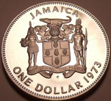 Buy Rare Cameo Proof Jamaica 1973 Dollar~Only 28,000 Minted~Awesome~Free Shipping