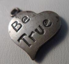 Buy 3 vintage Inspirational Sterling Heart Charms : Be Prayerful - Be True - Be Sti