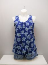 Buy SIZE L Women 2PC Shorty PJ Set SECRET TREASURES Blue Floral Sleeveless V Neck