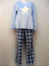Buy Ladies Pajama Set Plus Size 2X Plush Fleece Star Applique Top & Blue Plaid Pants