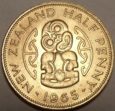 Buy Gem Uncirculated New Zealand 1965 Half Penny~Last Year Ever~Hei Tiki~Free Ship