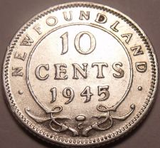 Buy Scarce Newfoundland Silver 1945-C 10 Cents~Fantastic~Free Shipping
