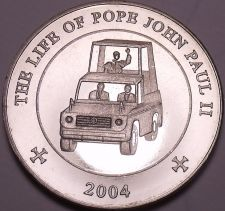 Buy Unc Somali 2004 25 Schillings~The Life Of Pope John Paul II~Pope In Vehicle~Fr/S