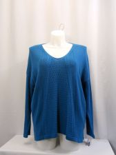 Buy SIZE XL Womens Tunic Sweater STYLE&CO Solid Teal V Neck Long Sleeve Medium Knit