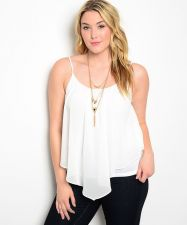 Buy Zenobia Off White Straps Sheer Popover Over Knit Camisole Top Size 1XL-3XL