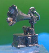 Buy Vintage 3D Silver Charm : Thomas Edison's Gramaphone Victrola Phonograph