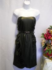 Buy Mystic Black Faux Leather Look Ruched Strapless Belt Holiday Party Dress Size M