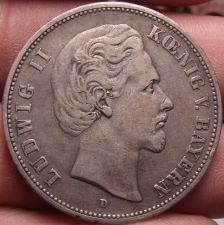 Buy Rare Silver Bavaria (German States) 1876-D 5 Marks~Excellent~Free Shipping