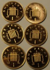Buy Lot Of 6 Impaired Proof Great Britain Penny's~1982 To 1992~Free Shipping