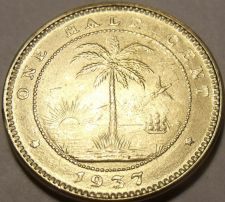 Buy Rare Gem Unc Liberia 1937 Half Cent~1st Coin Ever Minted By Liberia~Elephant~F/S